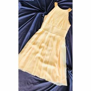 NWOT Kay Unger Pale Yellow Pleated Dress, Size 4